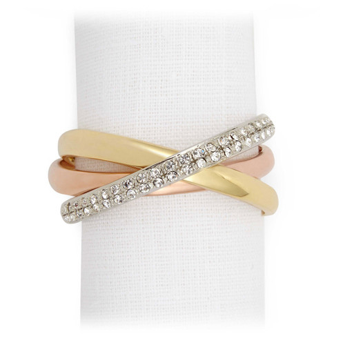 L'Objet Tri-Color with White Crystals Three-Ring Napkin Holder