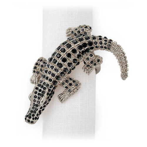 L'Objet Platinum with Black Crystals Crocodile Napkin Holder
