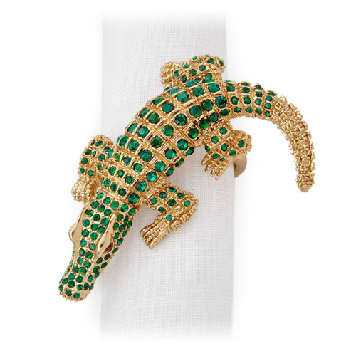 L'Objet Gold with Green Crystals Crocodile Napkin Holder