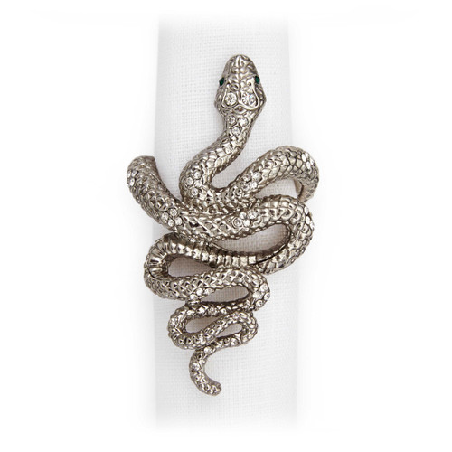 L'Objet Platinum with White Crystals Snake Napkin Holder