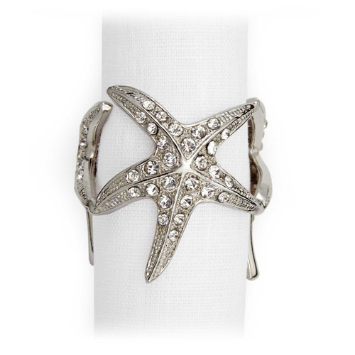 L'Objet Platinum with White Crystals Starfish Napkin Holder