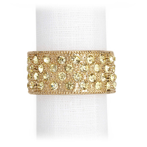 L'Objet Gold with Yellow Crystals Pave Band Napkin Holder