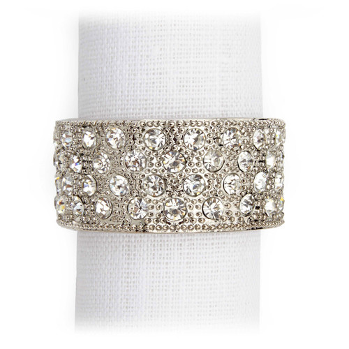 L'Objet Platinum with White Crystals Pave Band Napkin Holder