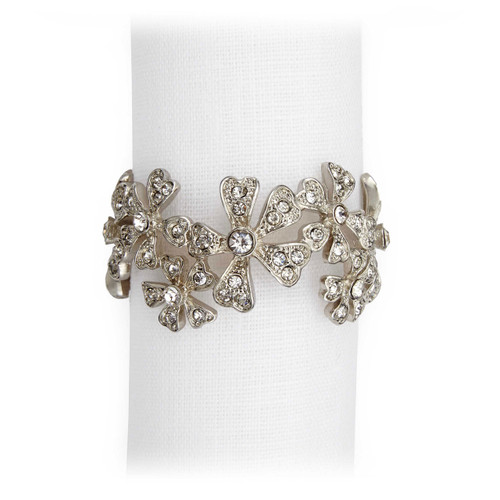 L'Objet Platinum with White Crystals Garland Napkin Holder