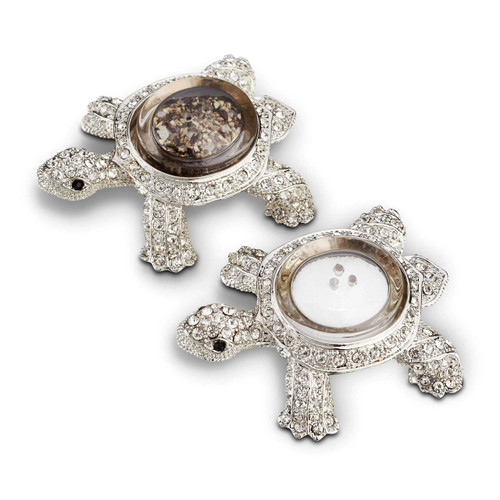 L'Objet Platinum with White Crystals Salt and Pepper Shaker Turtle Spice Jewels