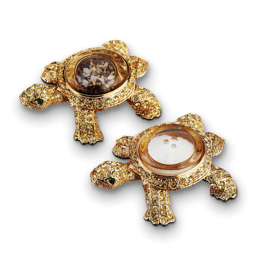 L'Objet Gold with Yellow Crystals Salt and Pepper Shaker Turtle Spice Jewels