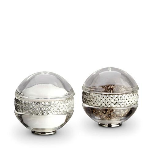 L'Objet Platinum Salt and Pepper Shaker Braid Spice Jewels