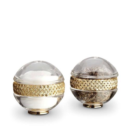 L'Objet Gold Salt and Pepper Shaker Braid Spice Jewels