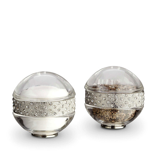 L'Objet Platinum with White Crystals Salt and Pepper Shaker Pave Band Spice Jewels