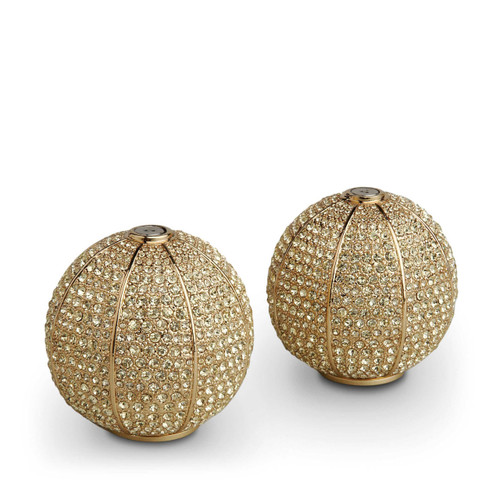 L'Objet Gold with Yellow Crystals Salt and Pepper Shaker Pave Sphere Spice Jewels