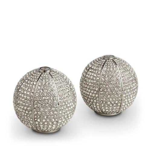 L'Objet Platinum with White Crystals Salt and Pepper Shaker Pave Sphere Spice Jewels