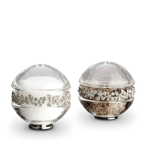 L'Objet Platinum with White Crystals Salt and Pepper Shaker Garland Spice Jewels