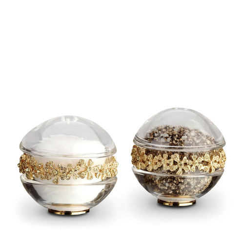 L'Objet Gold with Yellow Crystals Salt and Pepper Shaker Garland Spice Jewels