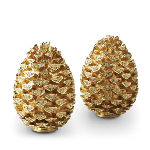 L'Objet Gold with Yellow Crystals Salt and Pepper Shaker Pinecone Spice Jewels
