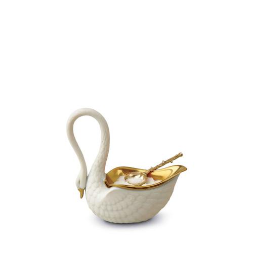 L'Objet Swan White Salt Cellar with Spoon