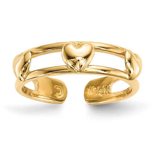3-Hearts Toe Ring 14k Gold R568