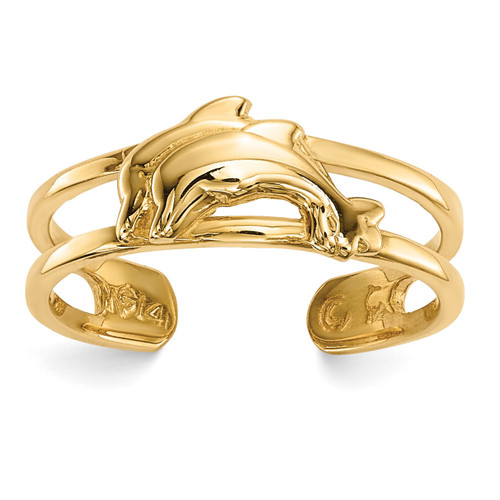 Dolphins Toe Ring 14k Gold R569