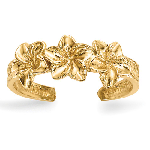 Flowers Toe Ring 14k Gold Polished R570