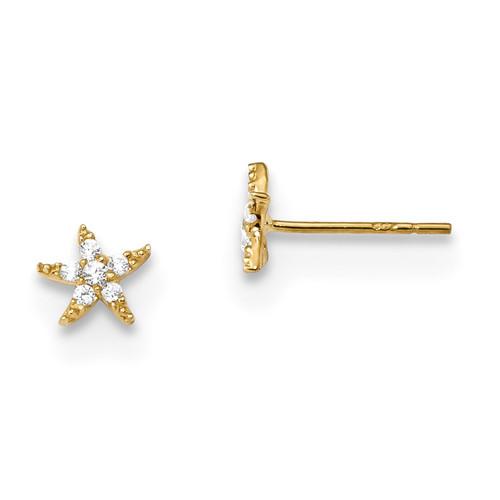 Madi K Polished CZ Star Post Earrings 14k Gold MPN: SE2562