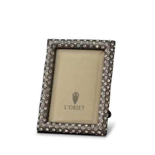 L'Objet Rectangular Pave 2 x 3 Inch Noir with White Crystals Picture Frame
