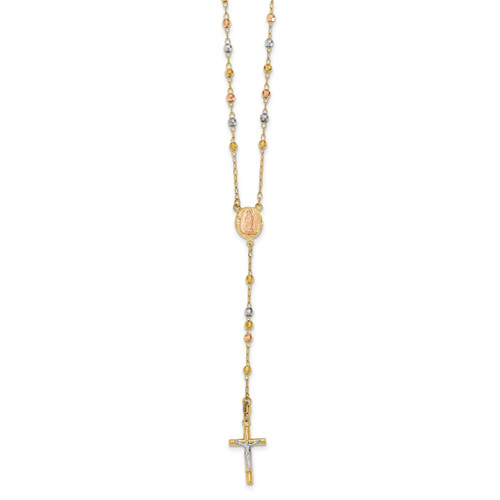 26in 2.90mm Beads Rosary 14k Tri-Color Gold SF2300-26