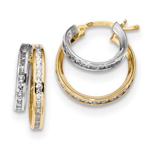 CZ Double Hoop Earrings 14k Two-Tone Gold MPN: TC952