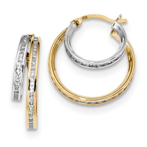CZ Double Hoop Earrings 14k Two-Tone Gold MPN: TC953