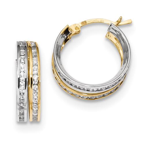 CZ 5.50mm Double Hoop Earrings 14k Two-Tone Gold MPN: TC957