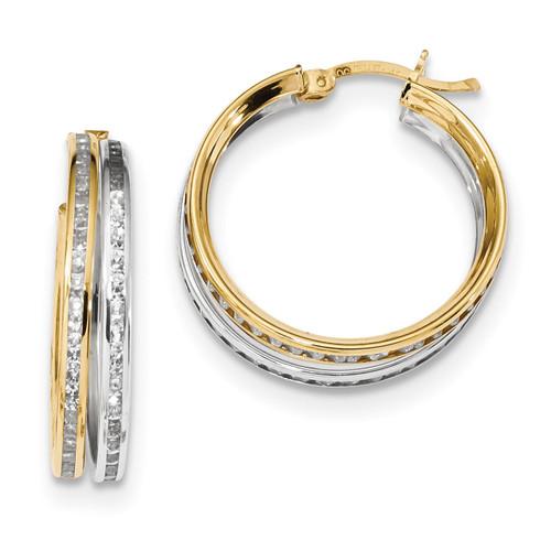 CZ 5.50mm Double Hoop Earrings 14k Two-Tone Gold MPN: TC958