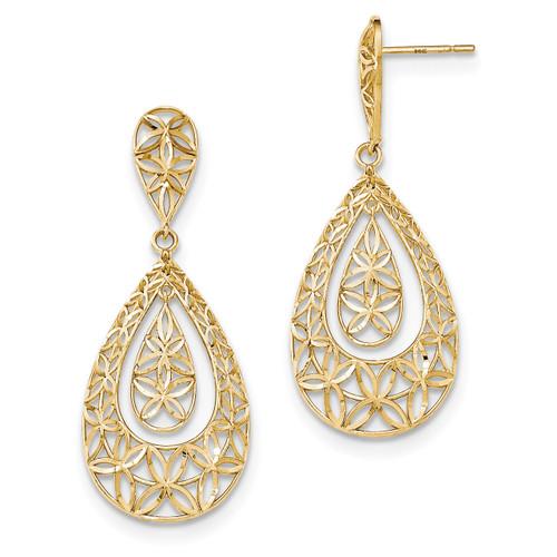 Diamond -cut Teardrop Dangle Post Earrings 14k Gold Polished MPN: TH894 UPC: 191101459849