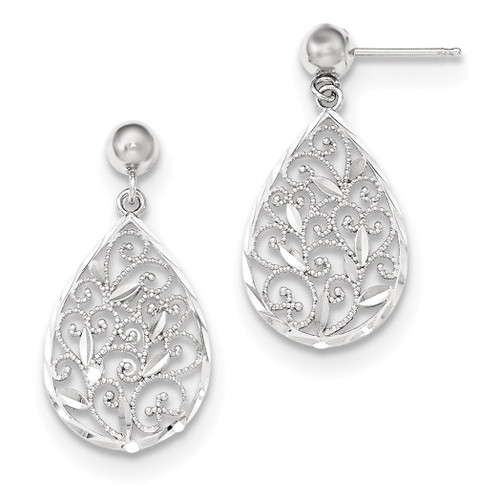 Polished Filigree Teardrop Post Dangle Earrings 14k white Gold MPN: TH895 UPC: 886774562605