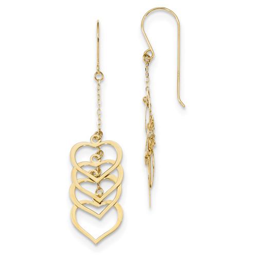 Triple Heart Dangle Shepherd Hook Earrings 14k Gold Polished MPN: TH961