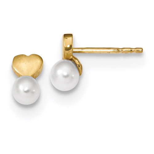 Freshwater Cultured Pearl Heart Polished Post Earrings 14k Gold MPN: TH963