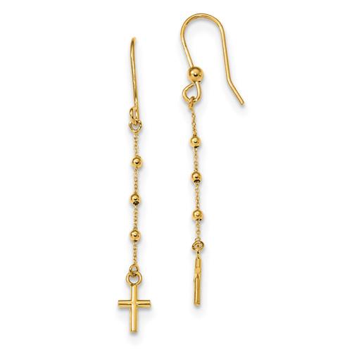 Cross Dangle Shepherd Hook Earrings 14k Gold Polished MPN: TL1103