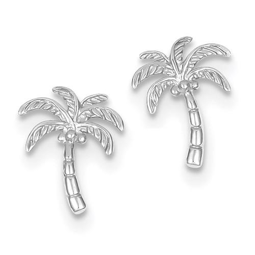 Palm Tree Post Earrings 14k white Gold MPN: TM774W