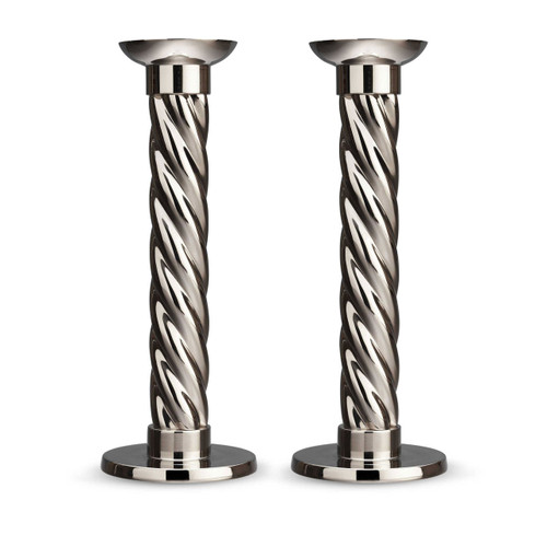 L'Objet Carrousel Candlesticks Large Set of Two Nickel-Plate