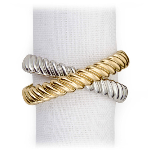 L'Objet Platinum and Gold Deco Twist Napkin Holder