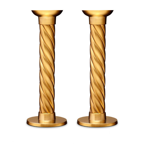L'Objet Carrousel Candlesticks Large Set of Two Hand forged 24k Gold-plated