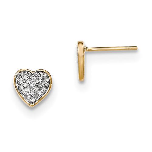 Diamond Heart Post Earrings 14k Gold MPN: XE2692A