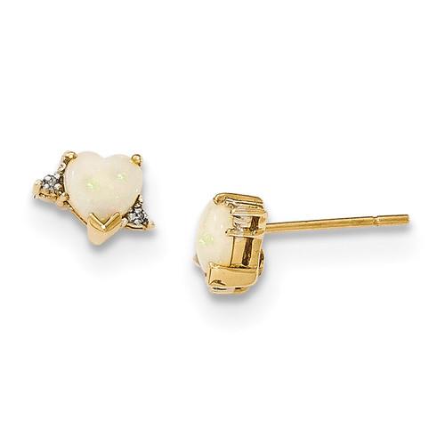 Opal and Diamond Post Earrings 14k Gold MPN: XE2752OP/A