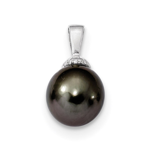 10-11mm Black Tahitian Cultured Pearl Pendant 14k white Gold XF460