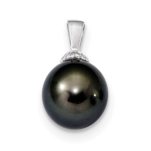11-12mm Black Tahitian Cultured Pearl Pendant 14k white Gold XF461