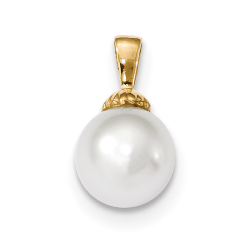 10-11mm White South Sea Cultured Pearl Pendant 14k Gold XF465