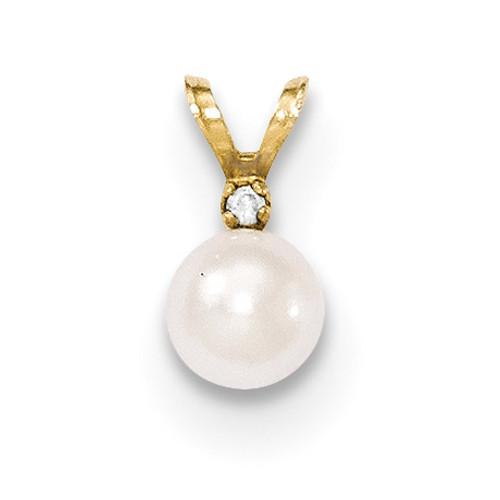 5-6mm Round White Saltwater Akoya Cultured Pearl Diamond Pendant 14k Gold XF471