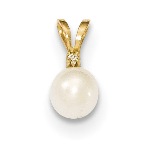 5-6mm Round White Fresh Water Cultured Pearl Diamond Pendant 14k Gold XF509