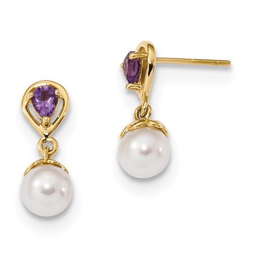 Amethyst & Freshwater Cultured Pearl Post Dangle Earrings 14k Gold MPN: XF643AM
