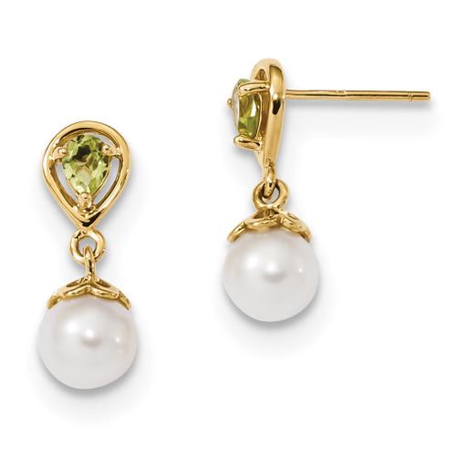 Peridot & Freshwater Cultured Pearl Post Dangle Earrings 14k Gold MPN: XF643PE