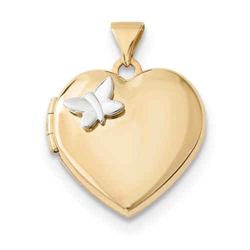 18mm Heart with Butterfly Locket 14k Two-Tone Gold XL689