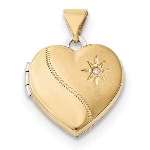 15mm Reversible Diamond Heart Locket 14k Two-Tone Gold XL691