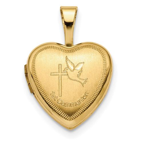 12mm 1st Communion Heart Locket 14k Gold XL710